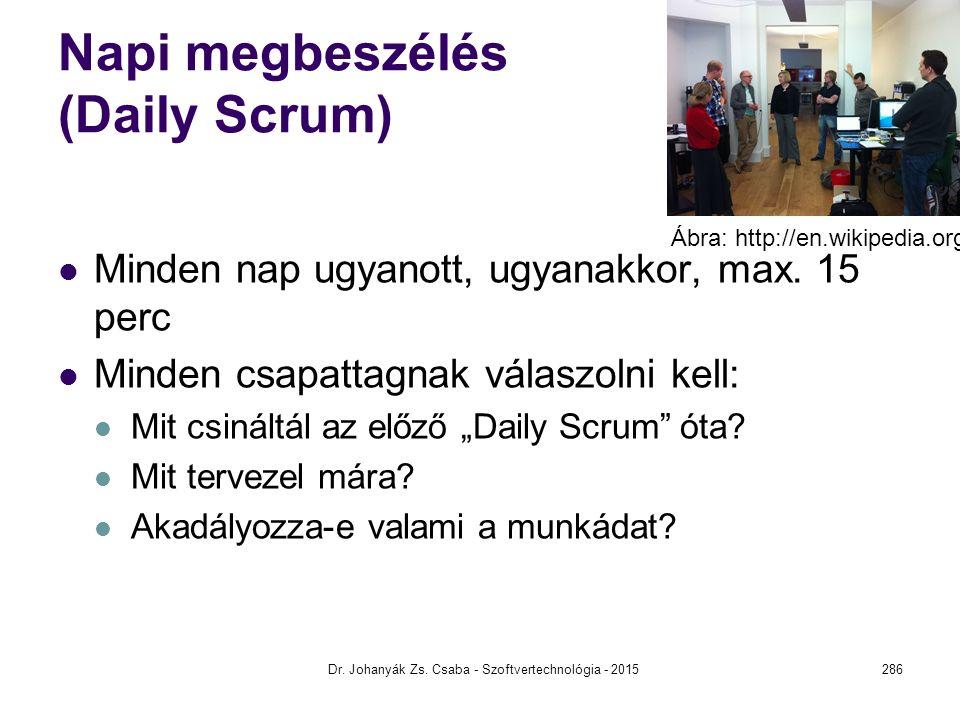 """Napi megbeszélés (Daily Scrum) Minden nap ugyanott, ugyanakkor, max. 15 perc Minden csapattagnak válaszolni kell: Mit csináltál az előző """"Daily Scrum"""""""