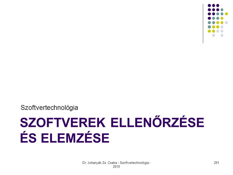 SZOFTVEREK ELLENŐRZÉSE ÉS ELEMZÉSE Szoftvertechnológia Dr. Johanyák Zs. Csaba - Szoftvertechnológia - 2015 291