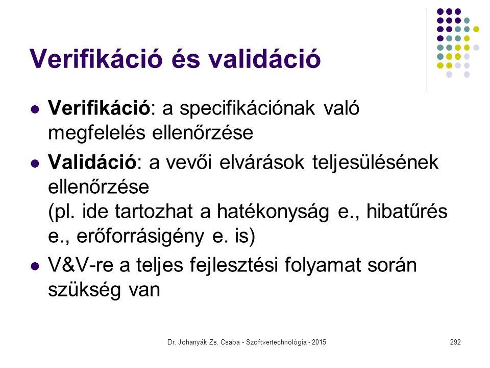 Verifikáció és validáció Verifikáció: a specifikációnak való megfelelés ellenőrzése Validáció: a vevői elvárások teljesülésének ellenőrzése (pl. ide t