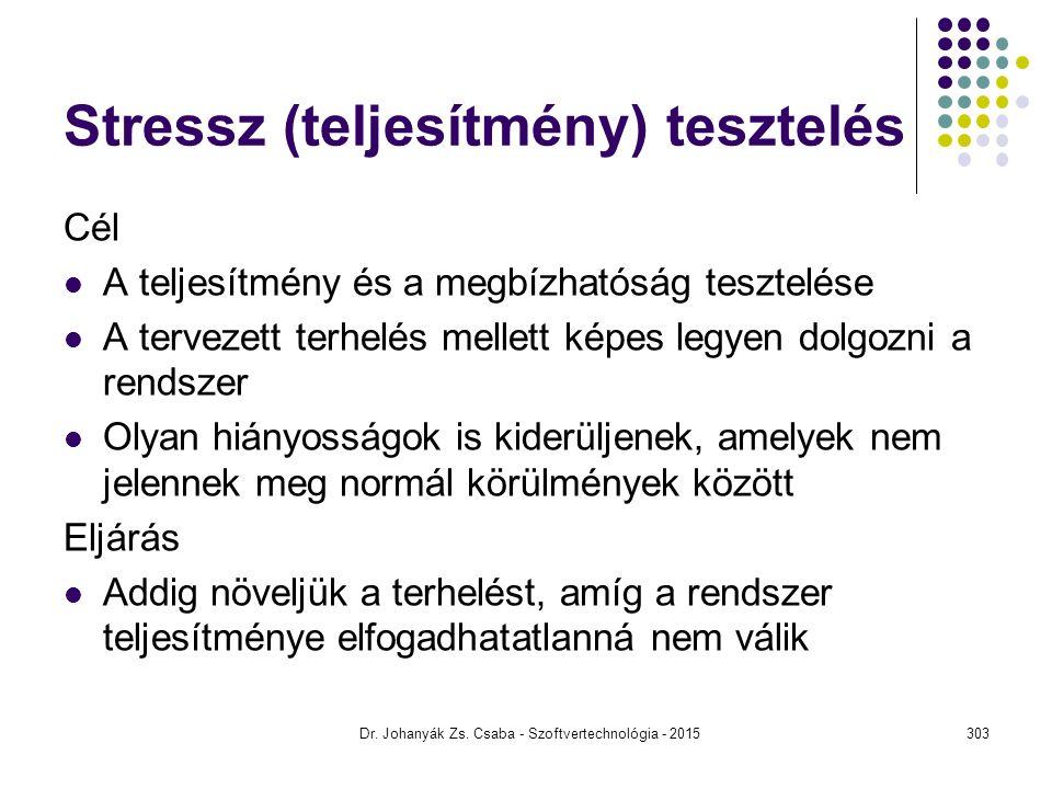 Dr. Johanyák Zs. Csaba - Szoftvertechnológia - 2015 Stressz (teljesítmény) tesztelés Cél A teljesítmény és a megbízhatóság tesztelése A tervezett terh