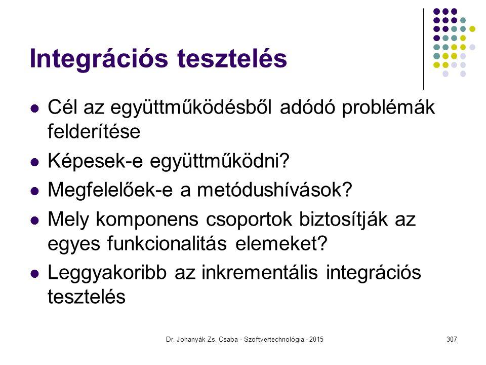 Integrációs tesztelés Cél az együttműködésből adódó problémák felderítése Képesek-e együttműködni? Megfelelőek-e a metódushívások? Mely komponens csop