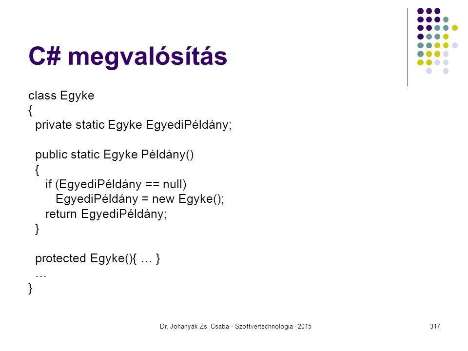 C# megvalósítás class Egyke { private static Egyke EgyediPéldány; public static Egyke Példány() { if (EgyediPéldány == null) EgyediPéldány = new Egyke