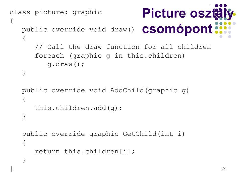 Picture osztály Dr. Johanyák Zs. Csaba - Szoftvertechnológia - 2015354 Picture osztály csomópont
