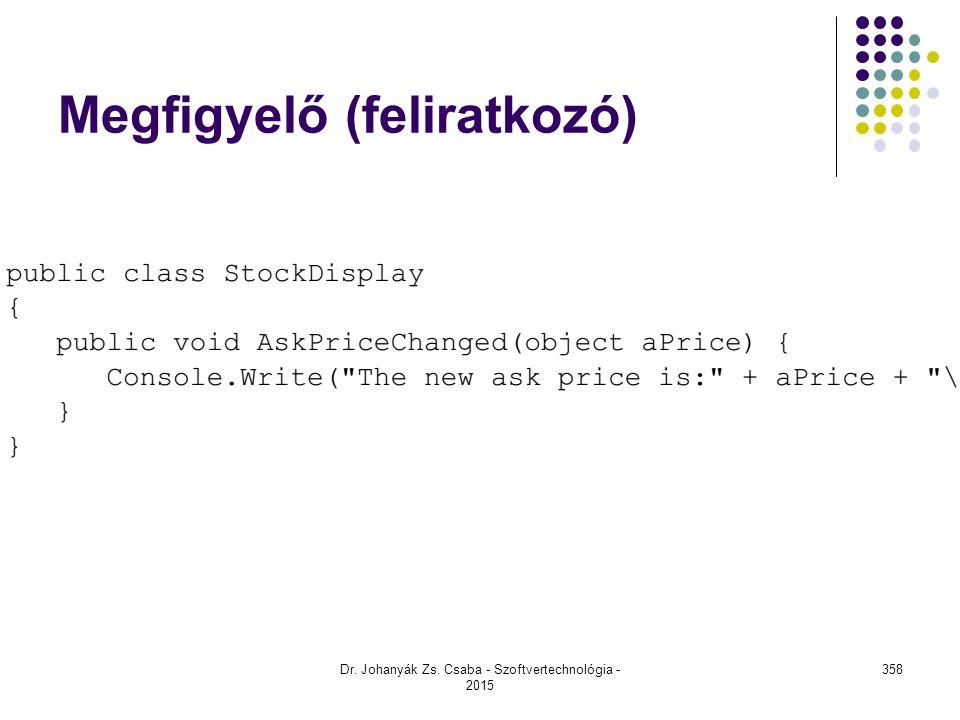 Megfigyelő (feliratkozó) Dr. Johanyák Zs. Csaba - Szoftvertechnológia - 2015 358