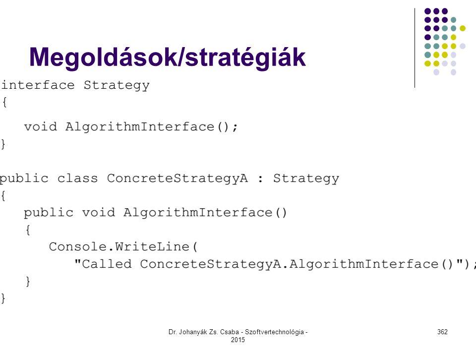 Megoldások/stratégiák Dr. Johanyák Zs. Csaba - Szoftvertechnológia - 2015 362