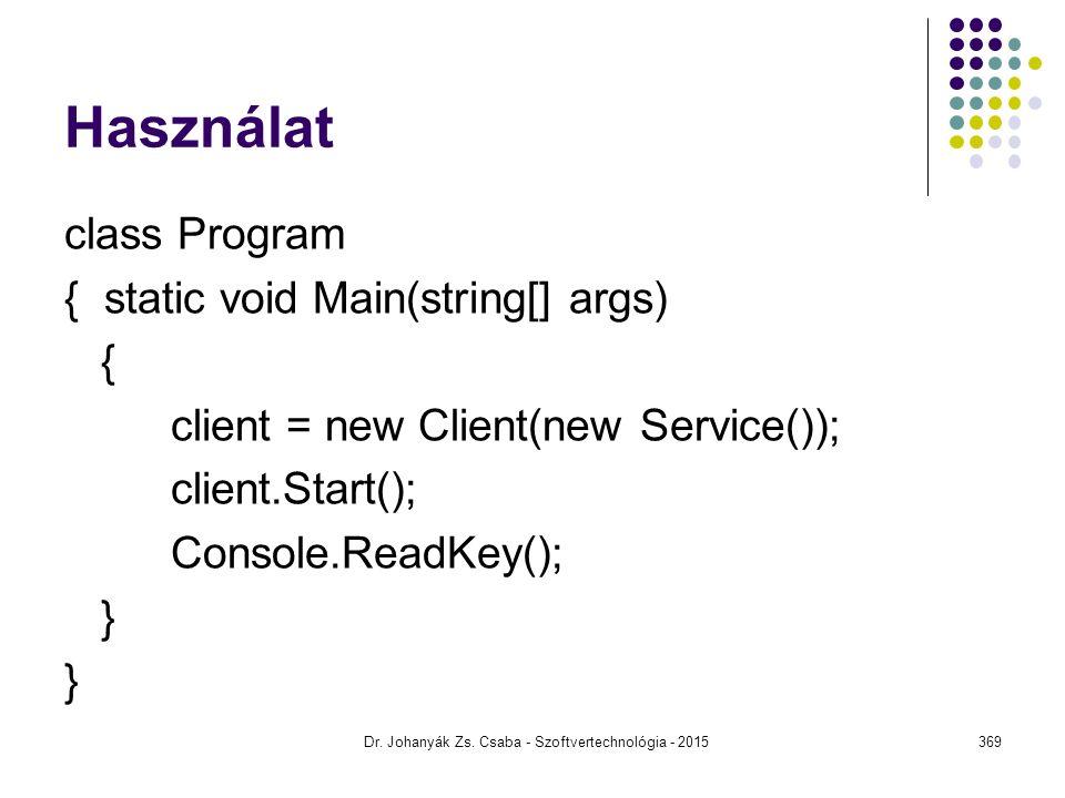 Használat class Program { static void Main(string[] args) { client = new Client(new Service()); client.Start(); Console.ReadKey(); } Dr. Johanyák Zs.