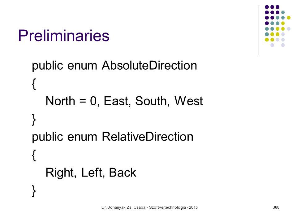 Preliminaries public enum AbsoluteDirection { North = 0, East, South, West } public enum RelativeDirection { Right, Left, Back } Dr. Johanyák Zs. Csab