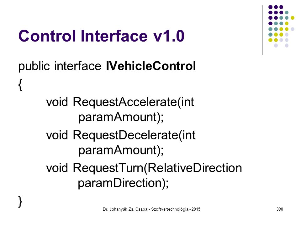 Control Interface v1.0 public interface IVehicleControl { void RequestAccelerate(int paramAmount); void RequestDecelerate(int paramAmount); void RequestTurn(RelativeDirection paramDirection); } Dr.