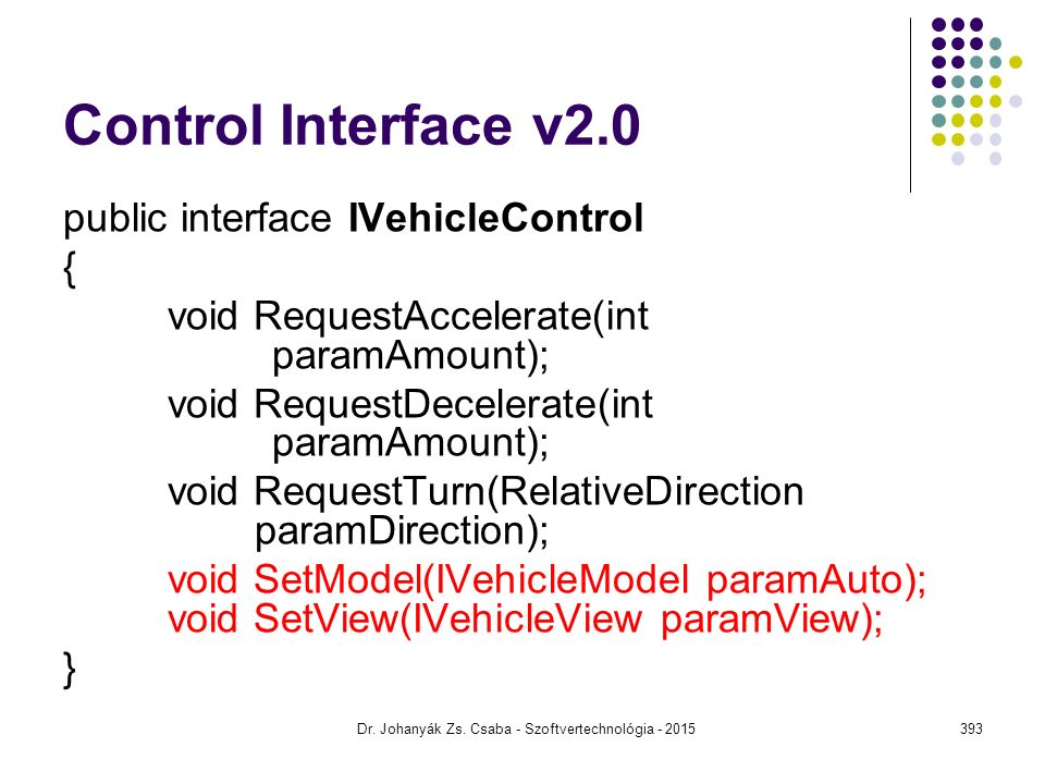 Control Interface v2.0 public interface IVehicleControl { void RequestAccelerate(int paramAmount); void RequestDecelerate(int paramAmount); void Reque