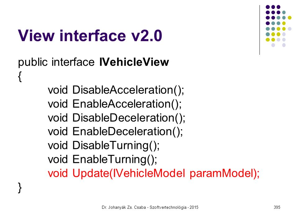View interface v2.0 public interface IVehicleView { void DisableAcceleration(); void EnableAcceleration(); void DisableDeceleration(); void EnableDeceleration(); void DisableTurning(); void EnableTurning(); void Update(IVehicleModel paramModel); } Dr.