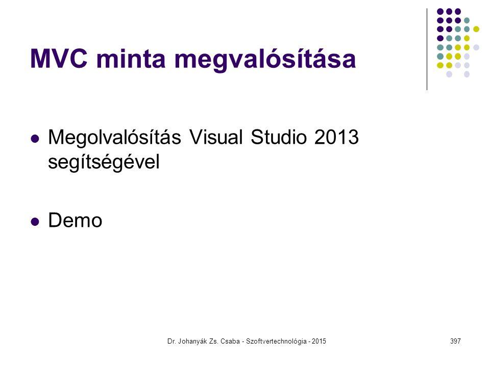 MVC minta megvalósítása Megolvalósítás Visual Studio 2013 segítségével Demo Dr. Johanyák Zs. Csaba - Szoftvertechnológia - 2015397