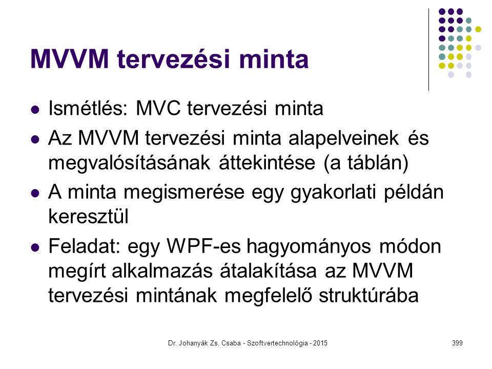 MVVM tervezési minta Ismétlés: MVC tervezési minta Az MVVM tervezési minta alapelveinek és megvalósításának áttekintése (a táblán) A minta megismerése