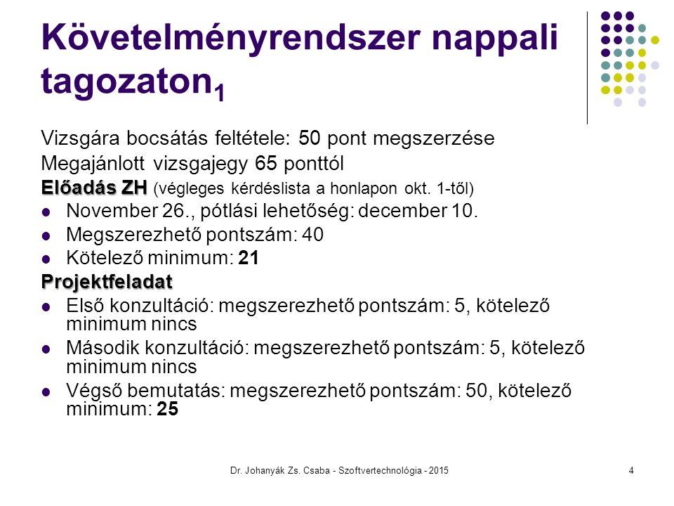 Követelményrendszer nappali tagozaton 1 Vizsgára bocsátás feltétele: 50 pont megszerzése Megajánlott vizsgajegy 65 ponttól Előadás ZH Előadás ZH (végl