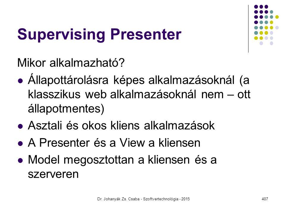 Supervising Presenter Mikor alkalmazható? Állapottárolásra képes alkalmazásoknál (a klasszikus web alkalmazásoknál nem – ott állapotmentes) Asztali és