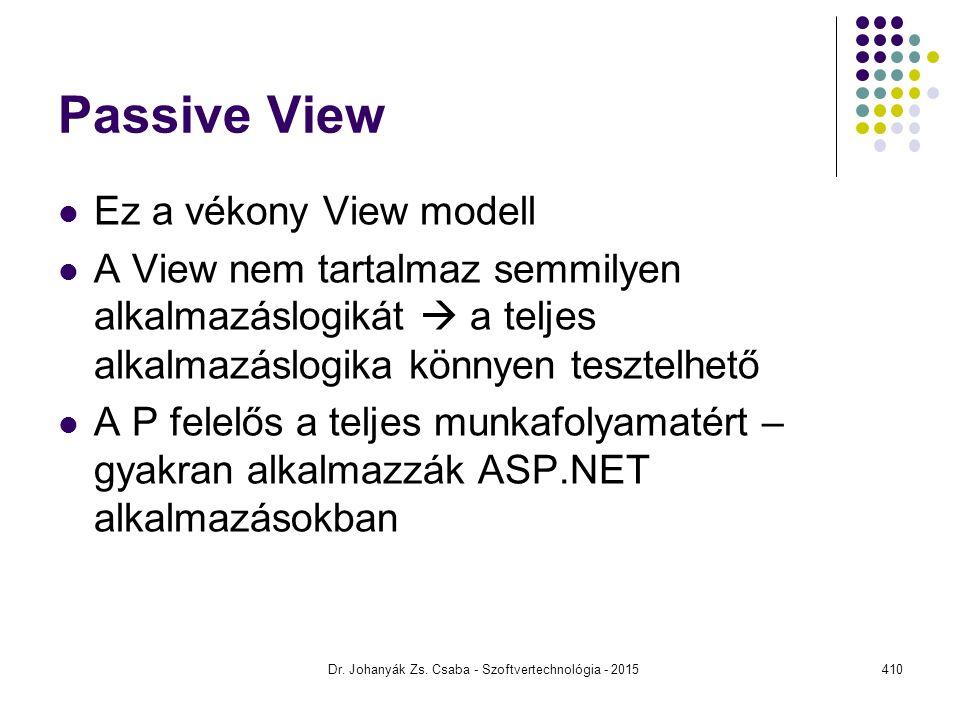 Passive View Ez a vékony View modell A View nem tartalmaz semmilyen alkalmazáslogikát  a teljes alkalmazáslogika könnyen tesztelhető A P felelős a te