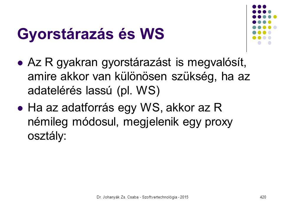 Gyorstárazás és WS Az R gyakran gyorstárazást is megvalósít, amire akkor van különösen szükség, ha az adatelérés lassú (pl. WS) Ha az adatforrás egy W