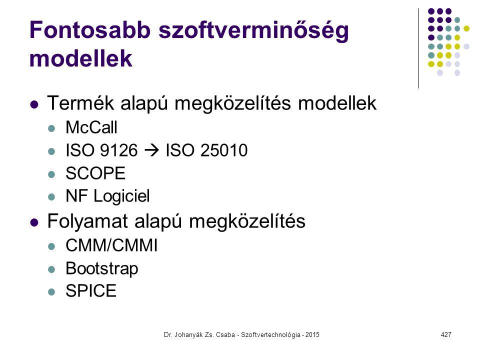 Fontosabb szoftverminőség modellek Termék alapú megközelítés modellek McCall ISO 9126  ISO 25010 SCOPE NF Logiciel Folyamat alapú megközelítés CMM/CM