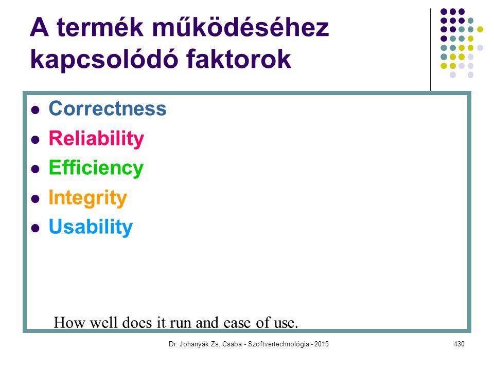 A termék működéséhez kapcsolódó faktorok Correctness Reliability Efficiency Integrity Usability How well does it run and ease of use. Dr. Johanyák Zs.