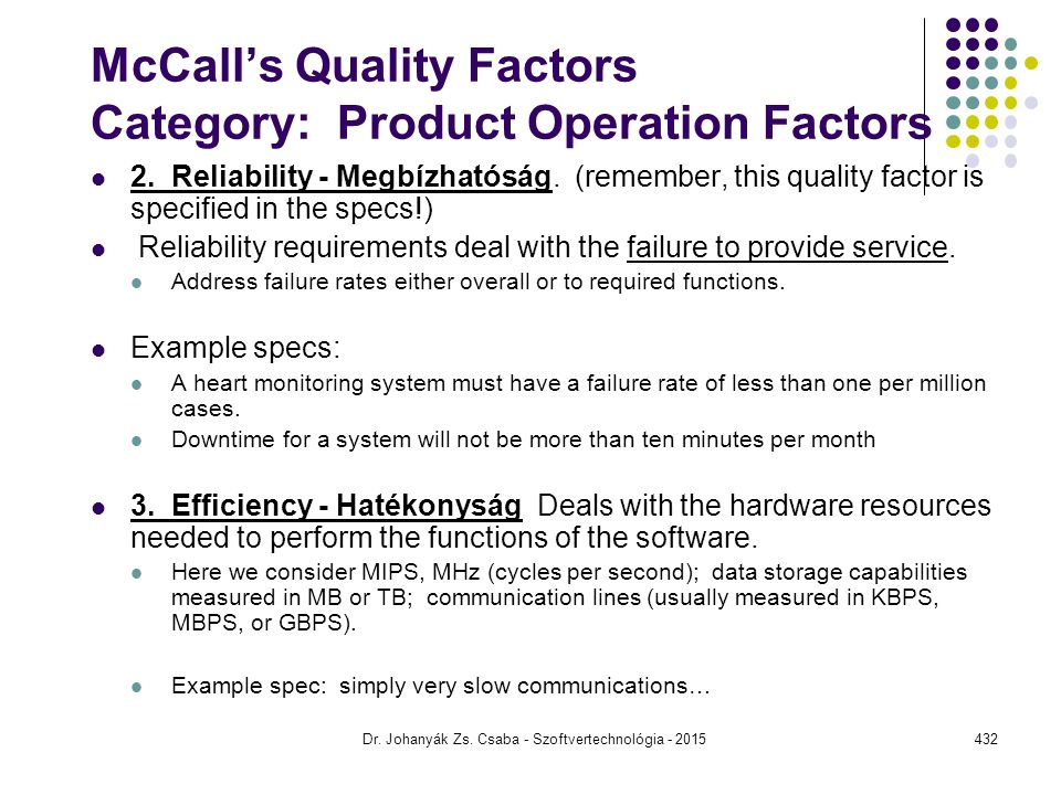 McCall's Quality Factors Category: Product Operation Factors 2.
