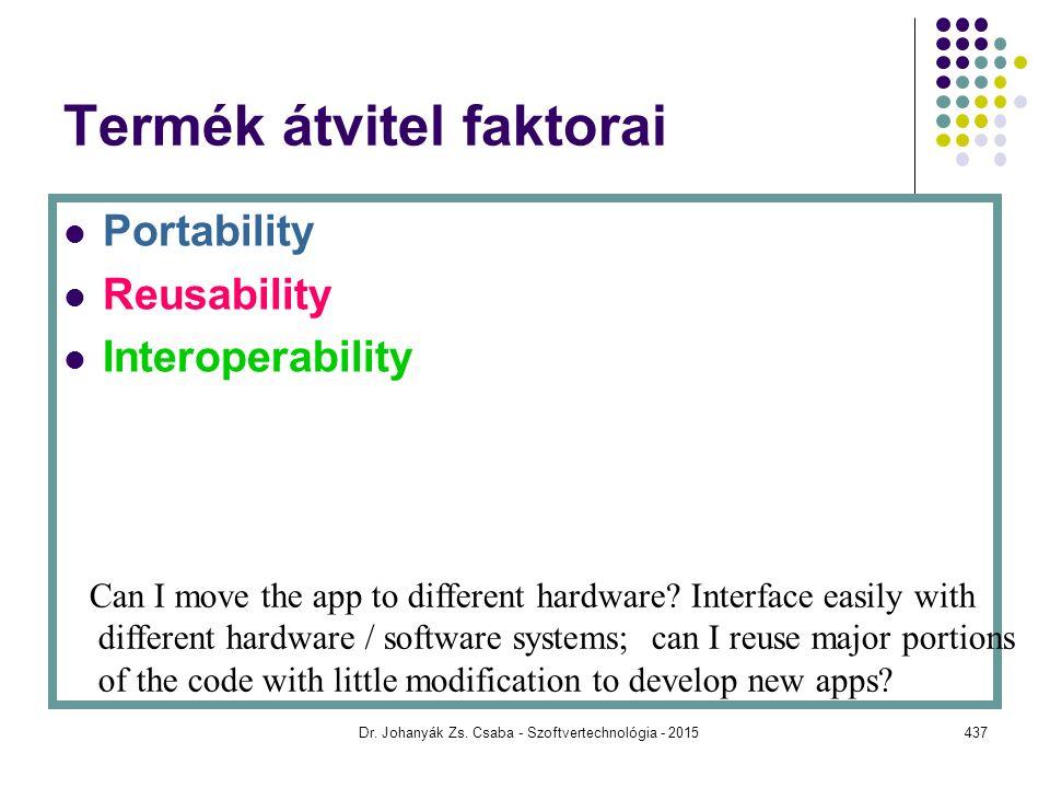 Termék átvitel faktorai Portability Reusability Interoperability Can I move the app to different hardware? Interface easily with different hardware /