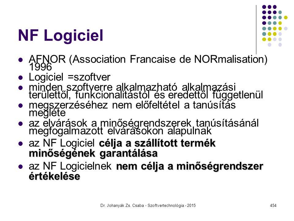 NF Logiciel AFNOR (Association Francaise de NORmalisation) 1996 Logiciel =szoftver minden szoftverre alkalmazható alkalmazási területtől, funkcionalit