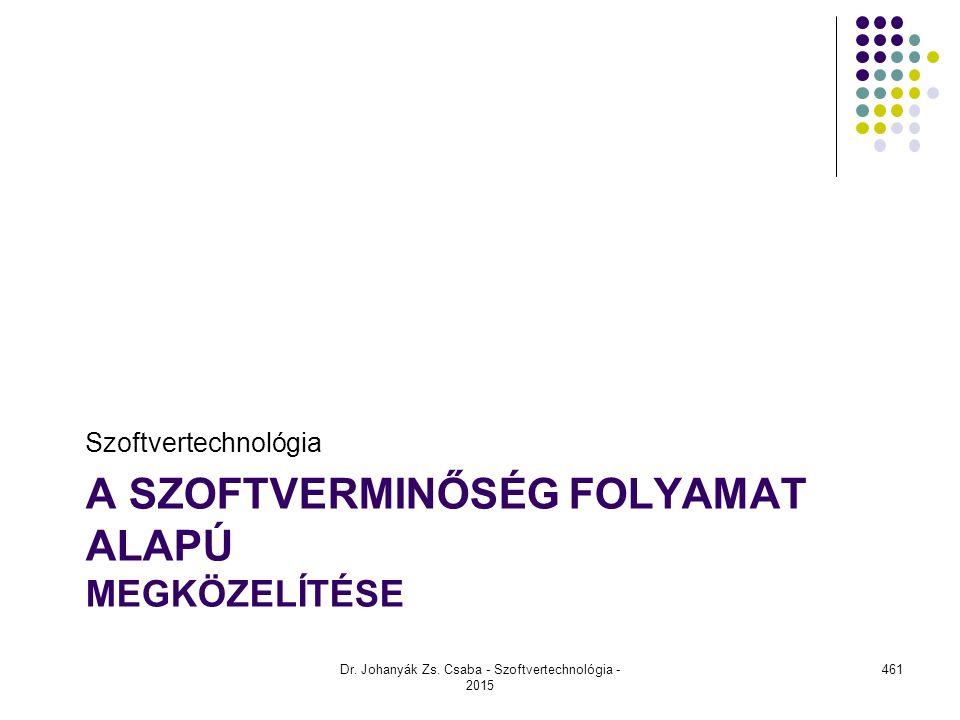 A SZOFTVERMINŐSÉG FOLYAMAT ALAPÚ MEGKÖZELÍTÉSE Szoftvertechnológia Dr. Johanyák Zs. Csaba - Szoftvertechnológia - 2015 461
