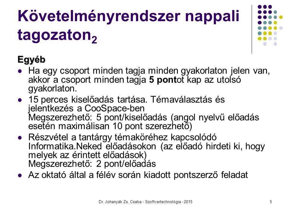 IMPLEMENTÁLÁS - FOLYTATÁS Szoftvertechnológia Dr.Johanyák Zs.
