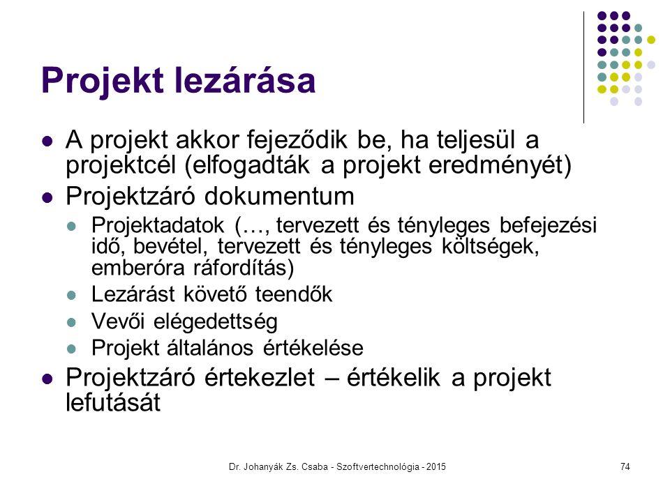 Projekt lezárása A projekt akkor fejeződik be, ha teljesül a projektcél (elfogadták a projekt eredményét) Projektzáró dokumentum Projektadatok (…, ter