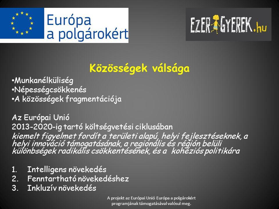 Közösségek válsága Munkanélküliség Népességcsökkenés A közösségek fragmentációja Az Európai Unió 2013-2020-ig tartó költségvetési ciklusában kiemelt f