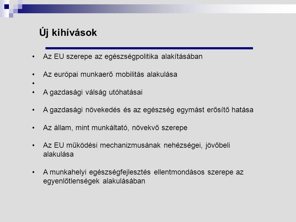 Új kihívások Az EU szerepe az egészségpolitika alakításában Az európai munkaerő mobilitás alakulása A gazdasági válság utóhatásai A gazdasági növekedés és az egészség egymást erősítő hatása Az állam, mint munkáltató, növekvő szerepe Az EU működési mechanizmusának nehézségei, jövőbeli alakulása A munkahelyi egészségfejlesztés ellentmondásos szerepe az egyenlőtlenségek alakulásában