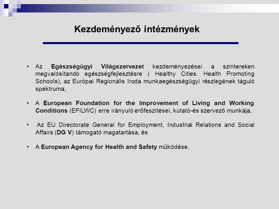 Együttműködési központ létrejötte 1991-ben a WHO-EURO határozottan elkötelezte magát a munkahelyi egészségfejlesztés mellett és WHO Collaborating Centre kinevezést adott a Federal Association of Company Health Insurance Funds ( Essen ) számára, amely azóta is jelentős szerepet játszik az európai együttműködésben.