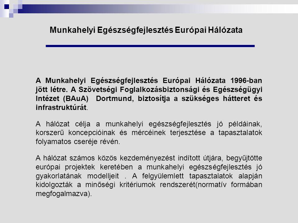 Munkahelyi Egészségfejlesztés Európai Hálózata A Munkahelyi Egészségfejlesztés Európai Hálózata 1996-ban jött létre.