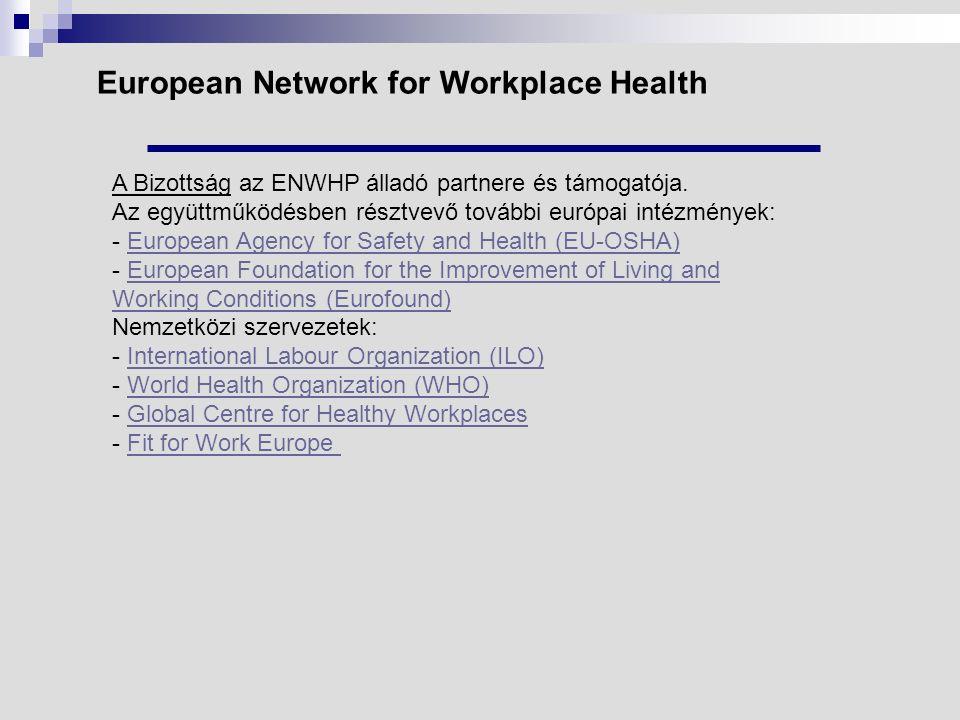 European Network for Workplace Health A Bizottság az ENWHP álladó partnere és támogatója.