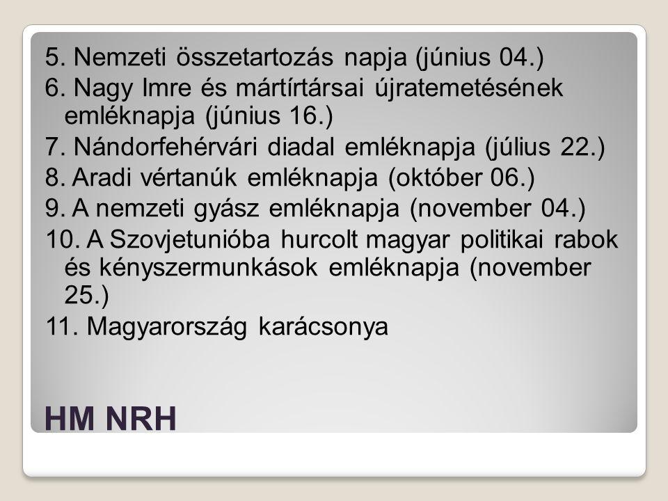 HM NRH 5. Nemzeti összetartozás napja (június 04.) 6. Nagy Imre és mártírtársai újratemetésének emléknapja (június 16.) 7. Nándorfehérvári diadal emlé