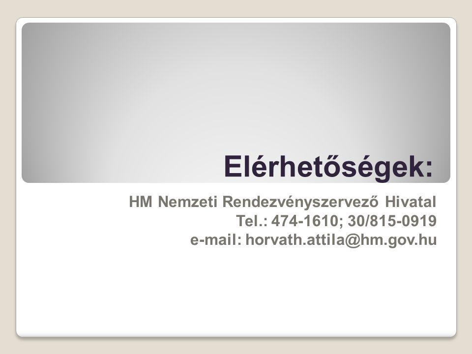 Elérhetőségek: HM Nemzeti Rendezvényszervező Hivatal Tel.: 474-1610; 30/815-0919 e-mail: horvath.attila@hm.gov.hu