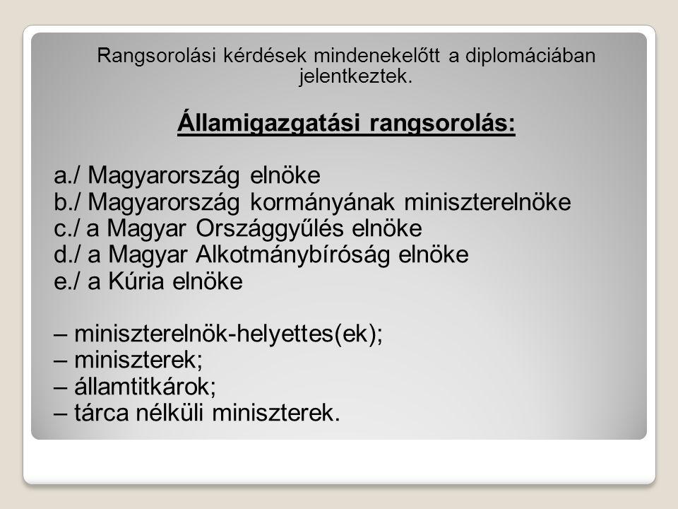 Rangsorolási kérdések mindenekelőtt a diplomáciában jelentkeztek. Államigazgatási rangsorolás: a./ Magyarország elnöke b./ Magyarország kormányának mi