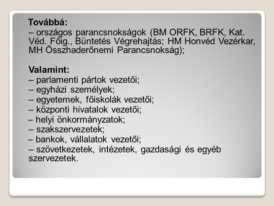 Továbbá: – országos parancsnokságok (BM ORFK, BRFK, Kat. Véd. Főig., Büntetés Végrehajtás; HM Honvéd Vezérkar, MH Összhaderőnemi Parancsnokság); Valam