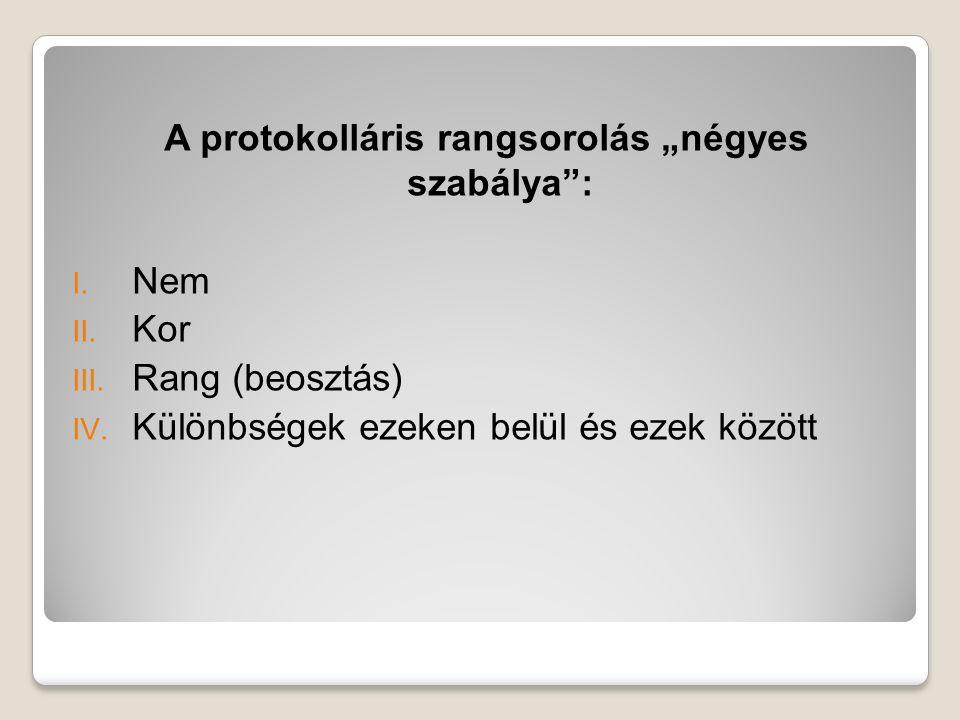 """A protokolláris rangsorolás """"négyes szabálya"""": I. Nem II. Kor III. Rang (beosztás) IV. Különbségek ezeken belül és ezek között"""