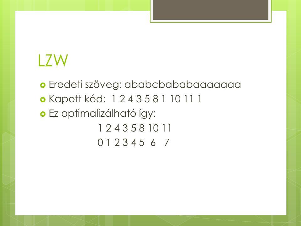 LZW  Eredeti szöveg: ababcbababaaaaaaa  Kapott kód: 1 2 4 3 5 8 1 10 11 1  Ez optimalizálható így: 1 2 4 3 5 8 10 11 0 1 2 3 4 5 6 7