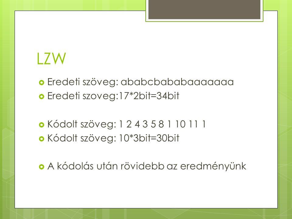 LZW  Eredeti szöveg: ababcbababaaaaaaa  Eredeti szoveg:17*2bit=34bit  Kódolt szöveg: 1 2 4 3 5 8 1 10 11 1  Kódolt szöveg: 10*3bit=30bit  A kódolás után rövidebb az eredményünk