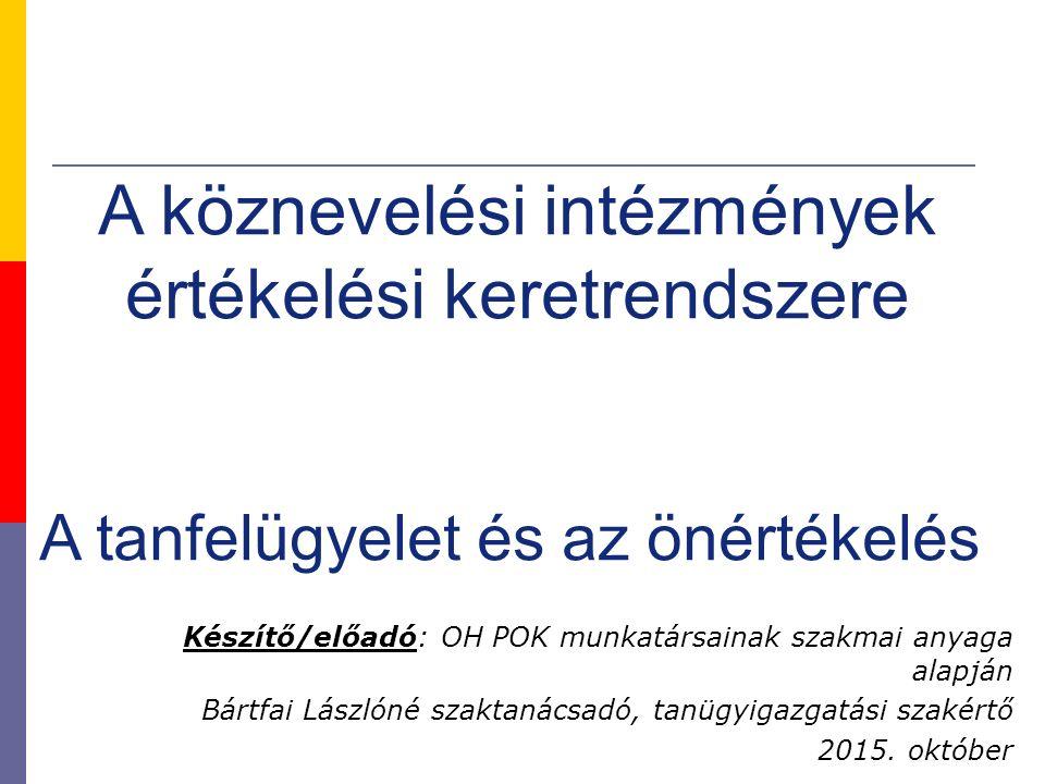 Készítő/előadó: OH POK munkatársainak szakmai anyaga alapján Bártfai Lászlóné szaktanácsadó, tanügyigazgatási szakértő 2015. október A köznevelési int