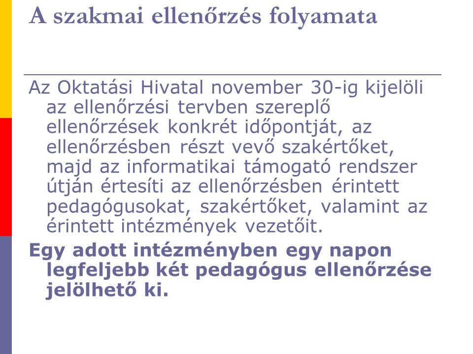 A szakmai ellenőrzés folyamata Az Oktatási Hivatal november 30-ig kijelöli az ellenőrzési tervben szereplő ellenőrzések konkrét időpontját, az ellenőr