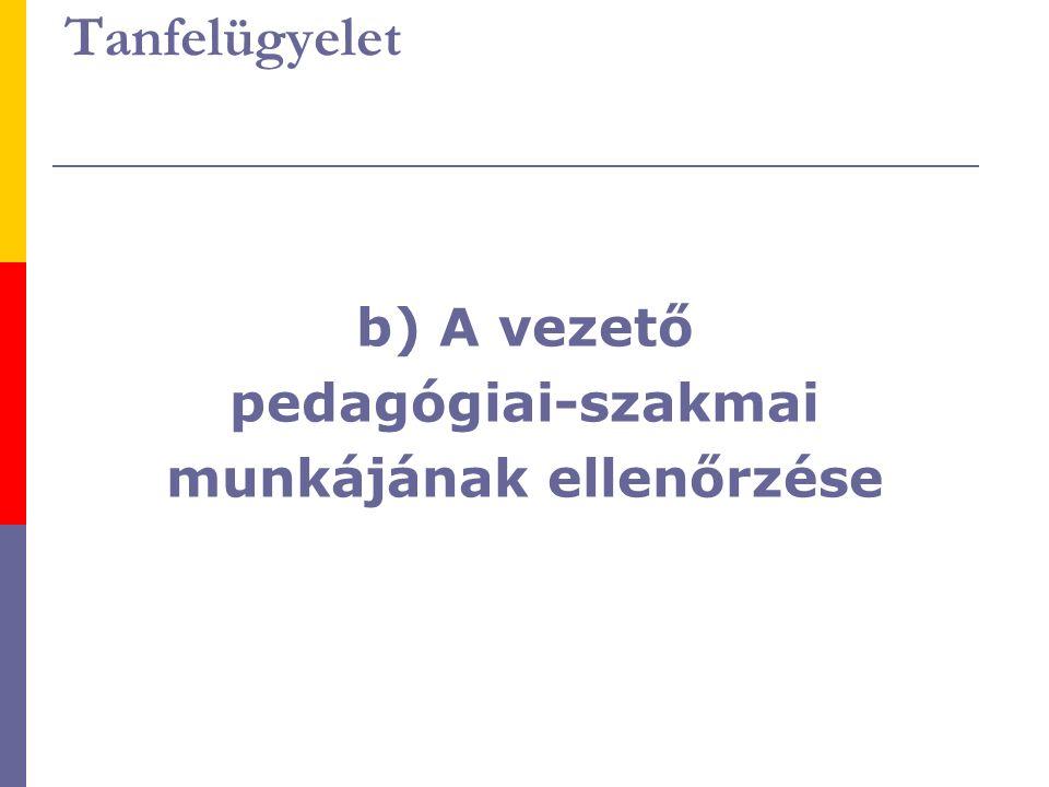 Tanfelügyelet b) A vezető pedagógiai-szakmai munkájának ellenőrzése