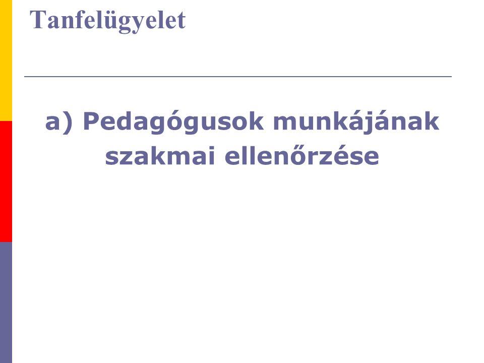 A szakmai ellenőrzés területei 1.Pedagógiai módszertani felkészültség 2.