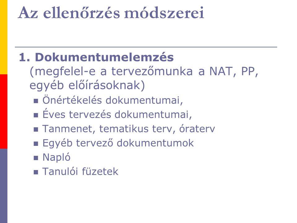 1. Dokumentumelemzés (megfelel-e a tervezőmunka a NAT, PP, egyéb előírásoknak) Önértékelés dokumentumai, Éves tervezés dokumentumai, Tanmenet, tematik