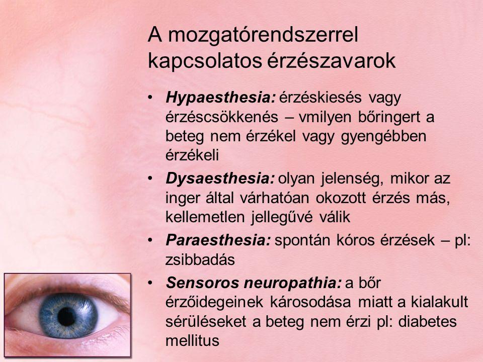 A mozgatórendszerrel kapcsolatos érzészavarok Hypaesthesia: érzéskiesés vagy érzéscsökkenés – vmilyen bőringert a beteg nem érzékel vagy gyengébben ér