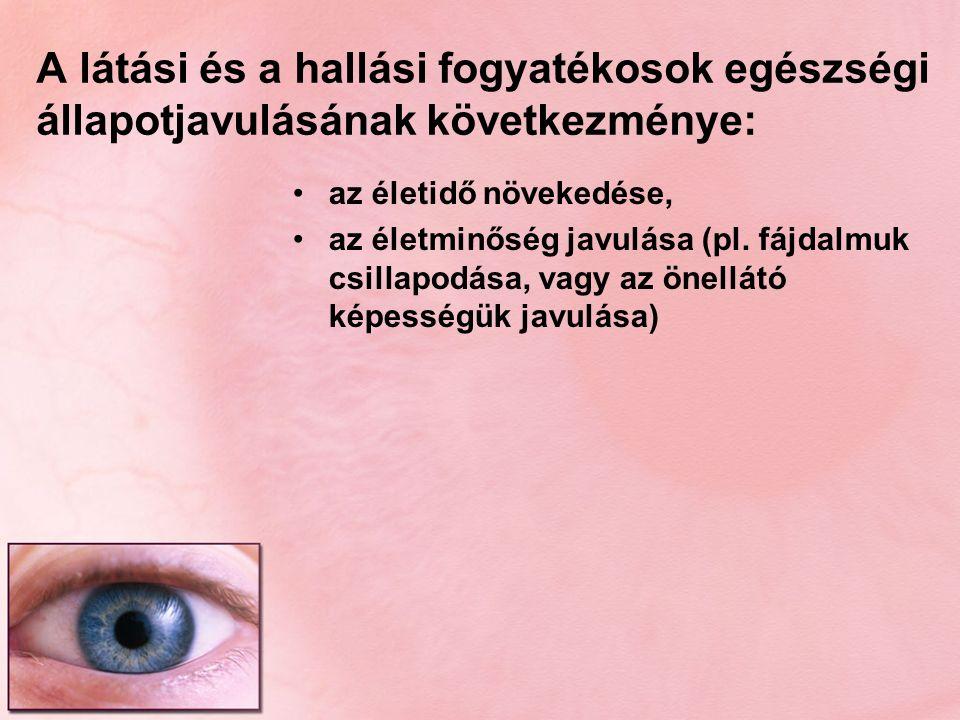 A látási és a hallási fogyatékosok egészségi állapotjavulásának következménye: az életidő növekedése, az életminőség javulása (pl. fájdalmuk csillapod