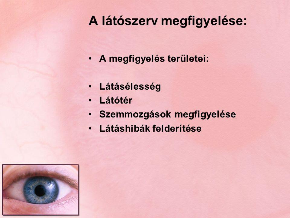A látószerv megfigyelése: A megfigyelés területei: Látásélesség Látótér Szemmozgások megfigyelése Látáshibák felderítése