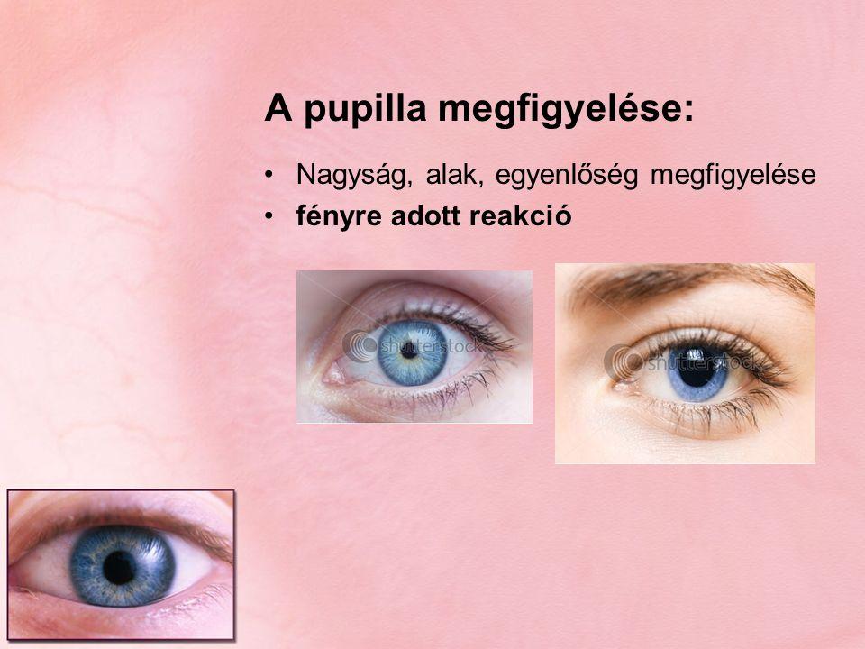 A pupilla megfigyelése: Nagyság, alak, egyenlőség megfigyelése fényre adott reakció