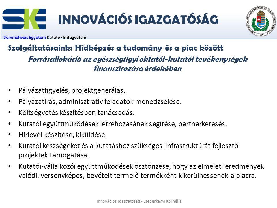 Semmelweis EgyetemSemmelweis Egyetem Kutató - Elitegyetem Innovációs Igazgatóság - Szederkényi Kornélia Szolgáltatásaink: Hídképzés a tudomány és a piac között Forrásallokáció az egészségügyi oktatói-kutatói tevékenységek finanszírozása érdekében Pályázatfigyelés, projektgenerálás.